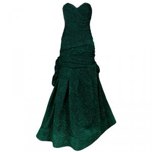Monique Lhuillier Green Tufted-skirt Strapless Gown M