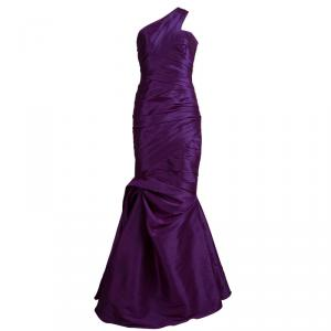 ML By Monique Lhuillier Purple One Shoulder Gown M