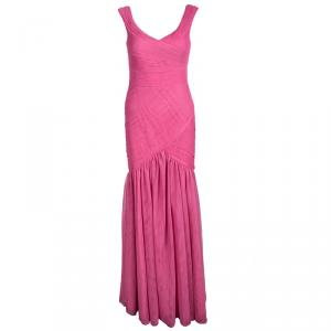Monique Lhuillier Pink Pleated Net Detail Sleeveless Gown S