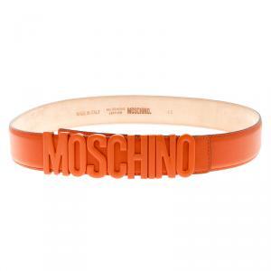 Moschino Orange Leather Logo Belt 105 CM
