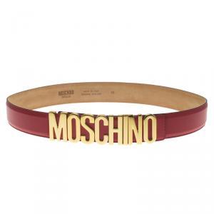 Moschino Red Leather Logo Belt 100 CM