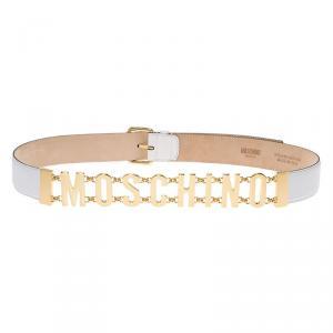 Moschino White Leather Logo Chain Belt 110 CM
