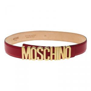 Moschino Red Leather Logo Belt 95 CM