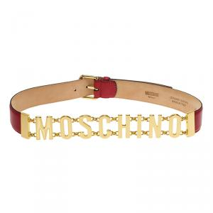 Moschino Red Leather Logo Chain Belt 100 CM