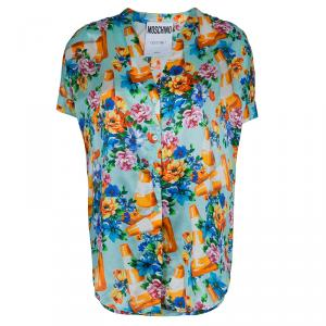 Moschino Couture Multicolor Floral Print Buttondown Short Sleeve Blouse M