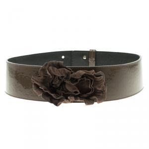Moschino Olive Green Patent Leather Flower Waist Belt 105 CM