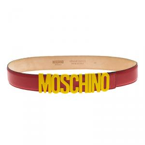 Moschino Red Leather Capsule Collection Mc Donal's Belt 90CM