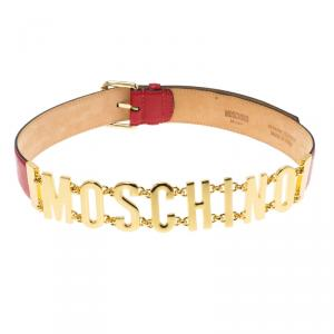 Moschino Red Leather Logo Chain Belt 95 CM