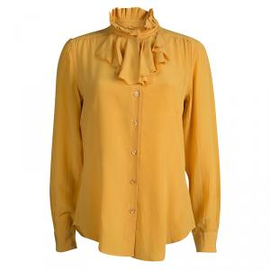 Moschino Yellow Ruffle Detail Long Sleeve Silk Blouse L
