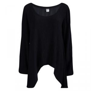 Moschino Couture Black Crinkled Silk Long Sleeve Top M