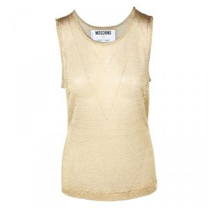 Moschino Couture Gold Mesh Sleeveless Top L