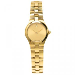 Movado Champagne Gold-Plated Stainless Steel Bold Women's Wristwatch 24MM