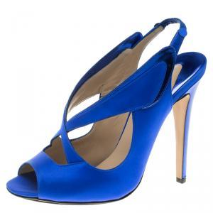 Nicholas Kirkwood Cobalt Blue Satin Cross Strap Slingback Sandals Size 38.5