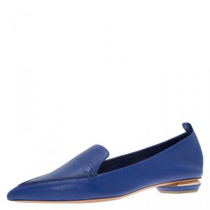 Nicholas Kirkwood Blue Textured Leather Beya Pointed Toe Loafers Size 40.5