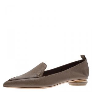 Nicholas Kirkwood Brown Textured Leather Beya Pointed Toe Loafers Size 36.5