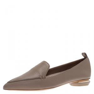Nicholas Kirkwood Brown Textured Leather Beya Pointed Toe Loafers Size 36