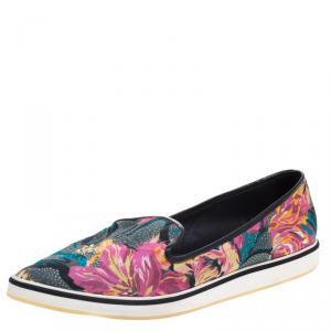Nicholas Kirkwood Multicolor Floral Printed Silk Pointed Toe Slip On Sneakers Size 39