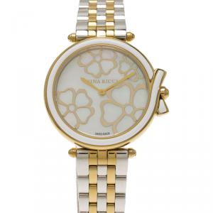 Nina Ricci Mother of Pearl Gold-Plated Stainless Steel Classic Women's Wristwatch 36MM