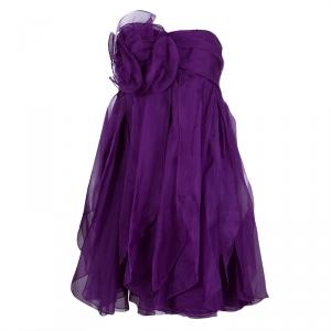 Notte By Marchesa Purple Floral Applique Ruffled Strapless Dress L