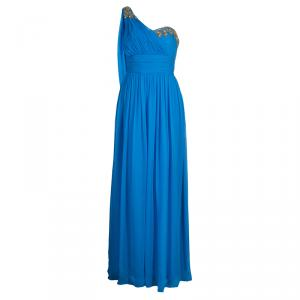 Notte By Marchesa Blue Embellished Silk Gown M