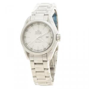 Omega White Stainless Steel Seamaster Aqua Terra Women's Wristwatch 30MM