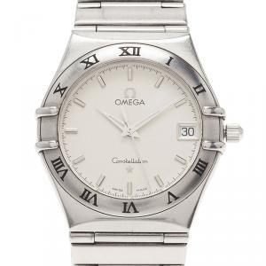 Omega White Stainless Steel Constellation 1552 Women's Wristwatch 33MM
