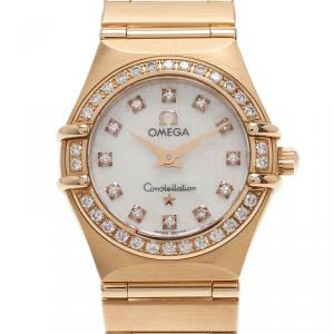 Omega Mother of Pearl 18K Yellow Gold Constellation Mini Women's Wristwatch 22MM