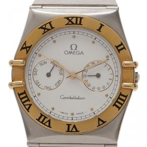 Omega White Stainless Steel and 18k gold Constellation Women's Wristwatch 32MM