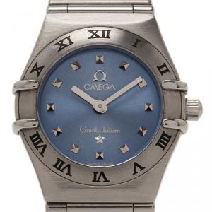 Omega Blue Stainless Steel Constellation My Choice Women's Wristwatch 26MM