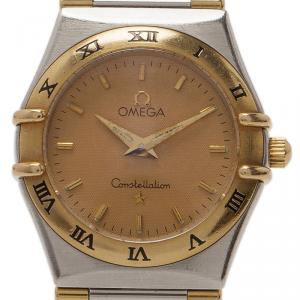 Omega 18K Yellow Gold & Stainless Steel Constellation Women's Wristwatch 25mm