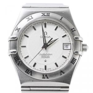 Omega White Stainless Steel Constellation Women's Wristwatch 35MM