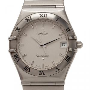 Omega White Stainless Steel Constellation Women's Wristwatch 34MM