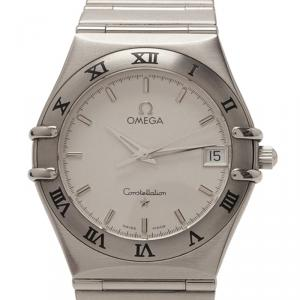 Omega White Stainless Steel Constellation Women's Wristwatch 33MM