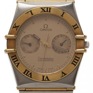 Omega Gold Stainless Steel and 18K Yellow Gold Constellation Women's Wristwatch 32MM