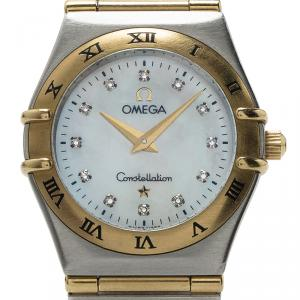 Omega White 18K Yellow Gold and Stainless Steel Constellation Women's Wristwatch 24MM