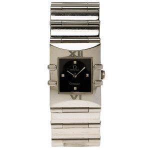 Omega Black Stainless Steel Constellation Quadrella Women's Wristwatch 20MM
