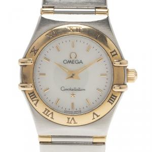 Omega Mother of Pearl 18K Yellow Gold and Stainless Steel Constellation Women's Wristwatch 22 MM