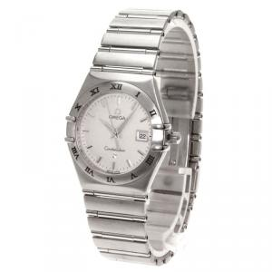 Omega White Stainless Steel Constellation Women's Wristwatch 28MM