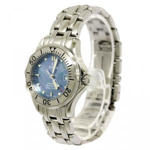 Omega Blue Mother of Pearl Stainless Steel Seamaster Professional Women's Wristwatch 29MM