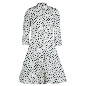 Oscar De La Renta Cream Silk Polka-Dotted Dress Coat M