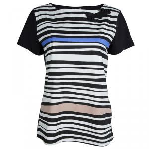 Paule Ka Black Jersey Multicolor Striped Bow Detail T-Shirt XL