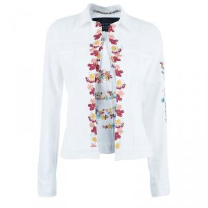 Philipp Plein Couture White Floral Embroidered Denim Jacket S