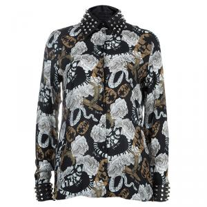Philipp Plein Couture Printed Studded Collar Silk Shirt S