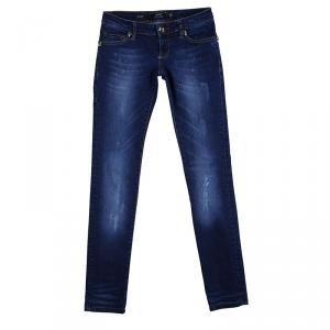 Philipp Plein Indigo Dark Wash Denim Distressed Skull Studded Skinny Jeans S