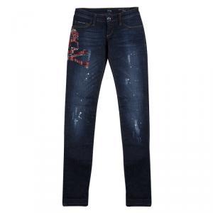 Philipp Plein Indigo Dark Wash Distressed Denim Tartan Skull Embellished Skinny Jeans S