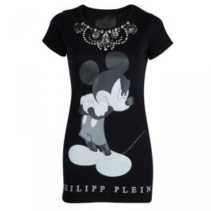 Philipp Plein Couture Black Jersey Disney Print Embellished T-Shirt XS