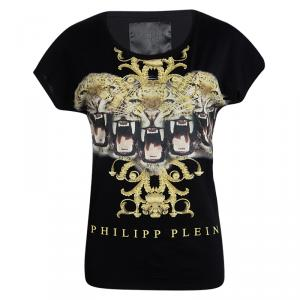 Philipp Plein Couture Black Tiger Printed T Shirt XS