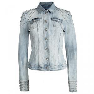 Philipp Plein Couture Indigo Light Wash Distressed Denim Studded Jacket M