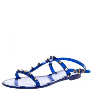 Philipp Plein Blue Studded Rubber T Strap Flat Sandals Size 38