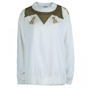 Philosophy Cream Embellished Long Sleeve Crew Neck Blouse M